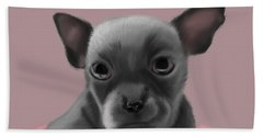Grey Chihuahua In The Pink Beach Towel