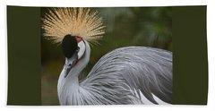 Grey Crowned Crane Beach Towel