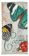 Grey Postcard Butterflies 2 Beach Towel
