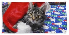 Grey Tabby Cat With Santa Claus Hat Beach Towel