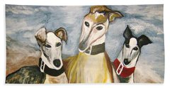 Greyhounds Beach Towel by Leslie Manley