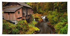 Grist Mill In Autumn Beach Towel