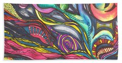 Groovy Series Titled Thoughts Beach Sheet by Chrisann Ellis
