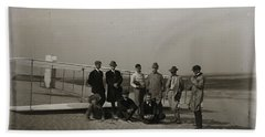 The Wright Brothers Group Portrait In Front Of Glider At Kill Devil Hill Beach Sheet