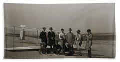 The Wright Brothers Group Portrait In Front Of Glider At Kill Devil Hill Beach Towel