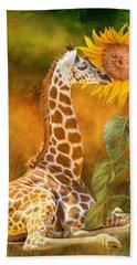 Beach Sheet featuring the mixed media Growing Tall - Giraffe by Carol Cavalaris