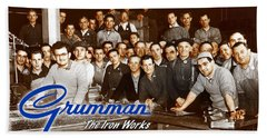 Grumman Iron Works Shop Workers Beach Towel
