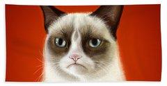 Grumpy Cat Beach Towel by Olga Shvartsur