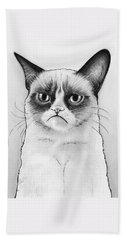 Grumpy Cat Portrait Beach Towel by Olga Shvartsur