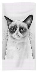 Grumpy Cat Portrait Beach Sheet by Olga Shvartsur
