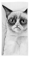 Grumpy Cat Portrait Beach Towel