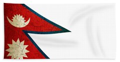 Grunge Nepal Flag Beach Towel