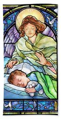 Guardian Angel With Sleeping Boy Beach Towel