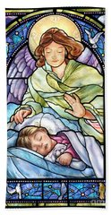 Guardian Angel With Sleeping Girl Beach Towel