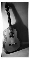 Guitar Still Life In Black And White Beach Towel