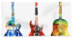 Guitar Threesome - Colorful Guitars By Sharon Cummings Beach Sheet by Sharon Cummings