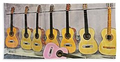 Guitars Beach Towel by Erika Weber