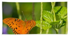 Beach Towel featuring the photograph Gulf Fritillary by Jane Luxton