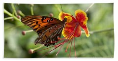 Beach Towel featuring the photograph Gulf Fritillary Photo by Meg Rousher