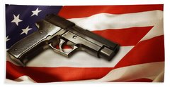 Gun On Flag Beach Sheet by Les Cunliffe