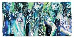 Guns N' Roses - Watercolor Portrait Beach Towel