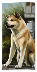 Hachi Painting Beach Towel by Paul Meijering