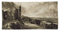 Hadleigh Castle, Engraved By David Lucas 1802-81 C.1832 Mezzotint With Etching Beach Towel