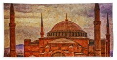 Hagia Sophia Digital Painting Beach Towel by Antony McAulay