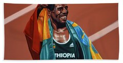 Haile Gebrselassie Beach Towel by Paul Meijering