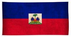 Haiti Flag Vintage Distressed Finish Beach Towel