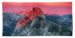 Beach Towel featuring the painting Half Dome Sunset From Glacier Point by John Haldane