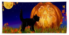 Halloween Black Cat Meets The Giant Pumpkin Beach Sheet by Michele Avanti