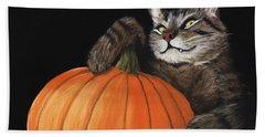 Halloween Cat Beach Towel