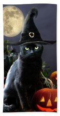 Witchy Black Halloween Cat Beach Towel