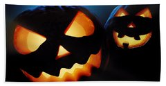 Halloween Pumpkins Closeup -  Jack O'lantern Beach Sheet by Johan Swanepoel