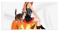 Halloween Witch Nicki With Kitten Beach Towel by Renate Janssen