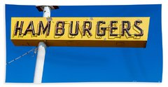 Hamburgers Old Neon Sign Beach Towel