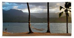 Hammock At Hanalei Bay Beach Towel by James Eddy