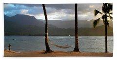 Hammock At Hanalei Bay Beach Sheet by James Eddy
