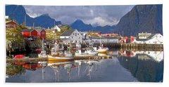 Hamnoy Fishing Village On Lofoten Islands Beach Sheet