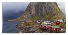 Hamnoy Rorbu Village Beach Towel by Heiko Koehrer-Wagner