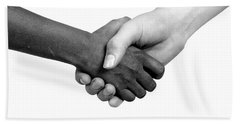 Handshake Black And White Beach Sheet