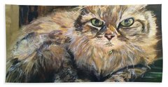 Beach Towel featuring the painting Handsome Toby by Belinda Low