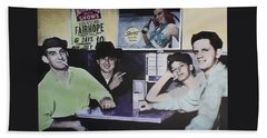 Beach Towel featuring the digital art Hanging At The Diner 1949 by Deborah Boyd