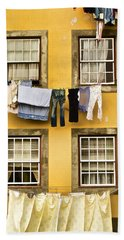 Hanging Clothes Of Old World Europe Beach Sheet