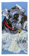 Beach Towel featuring the painting Hans The Schnauzer Original Painting Forsale by Bob and Nadine Johnston