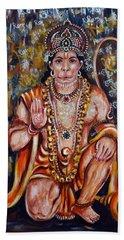 Beach Towel featuring the painting Hanuman by Harsh Malik