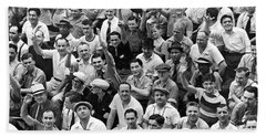 Happy Baseball Fans In The Bleachers At Yankee Stadium. Beach Towel