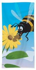 Happy Cartoon Bee With Yellow Flower Beach Towel