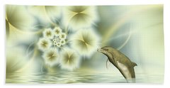 Happy Dolphin In A Surreal World Beach Towel